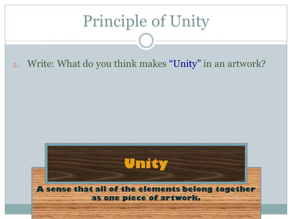 Principle of Unity Unity