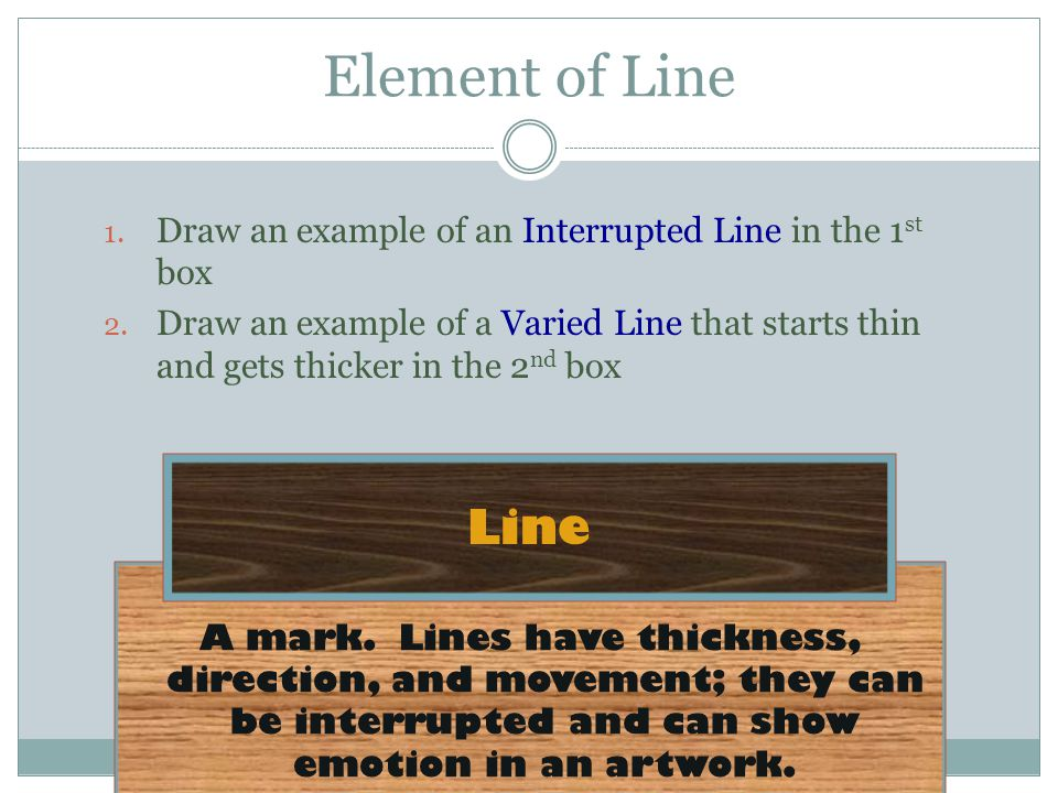 Element of Line Draw an example of an Interrupted Line in the 1st box.