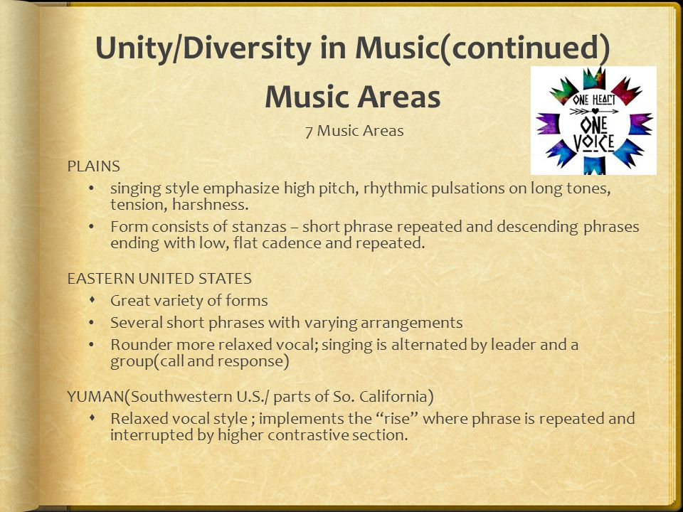 Unity/Diversity in Music(continued) Music Areas