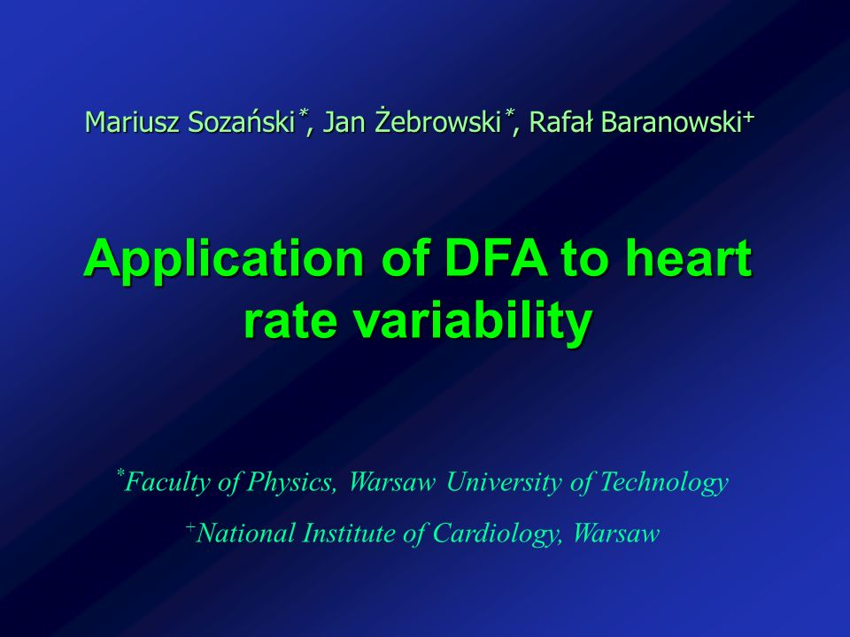 Application of DFA to heart rate variability