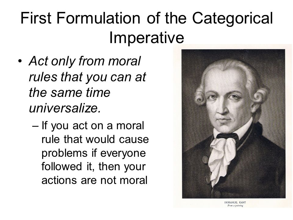 First Formulation of the Categorical Imperative