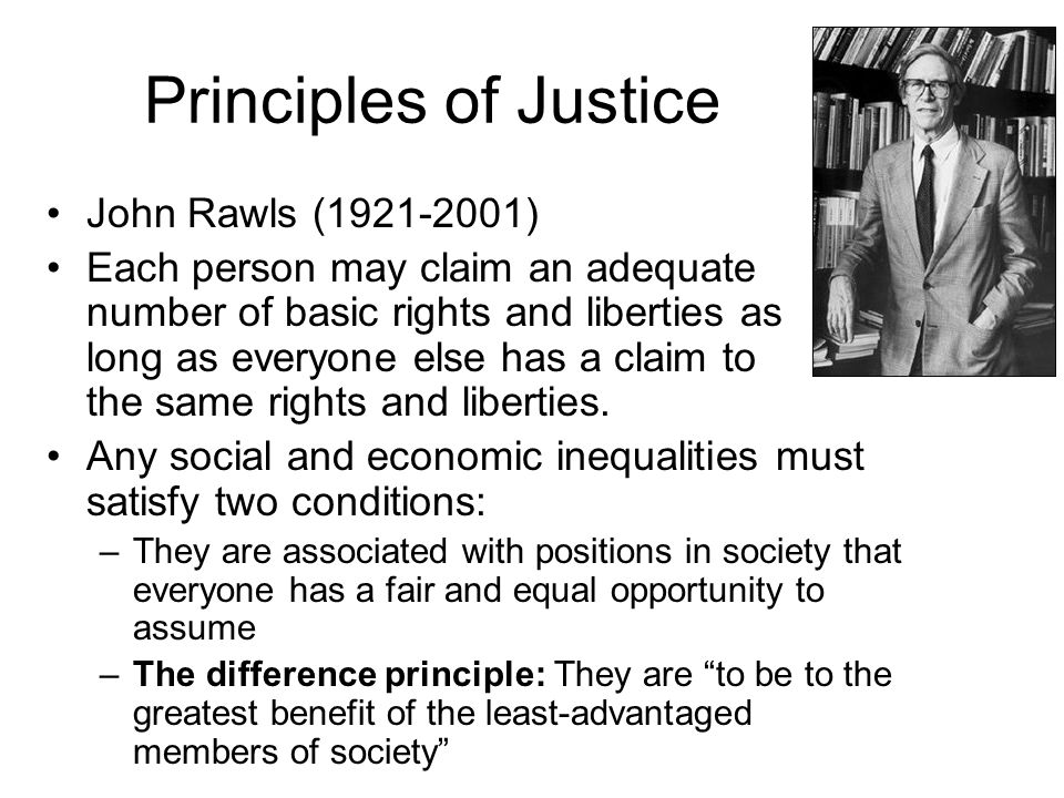 Principles of Justice John Rawls (1921-2001)