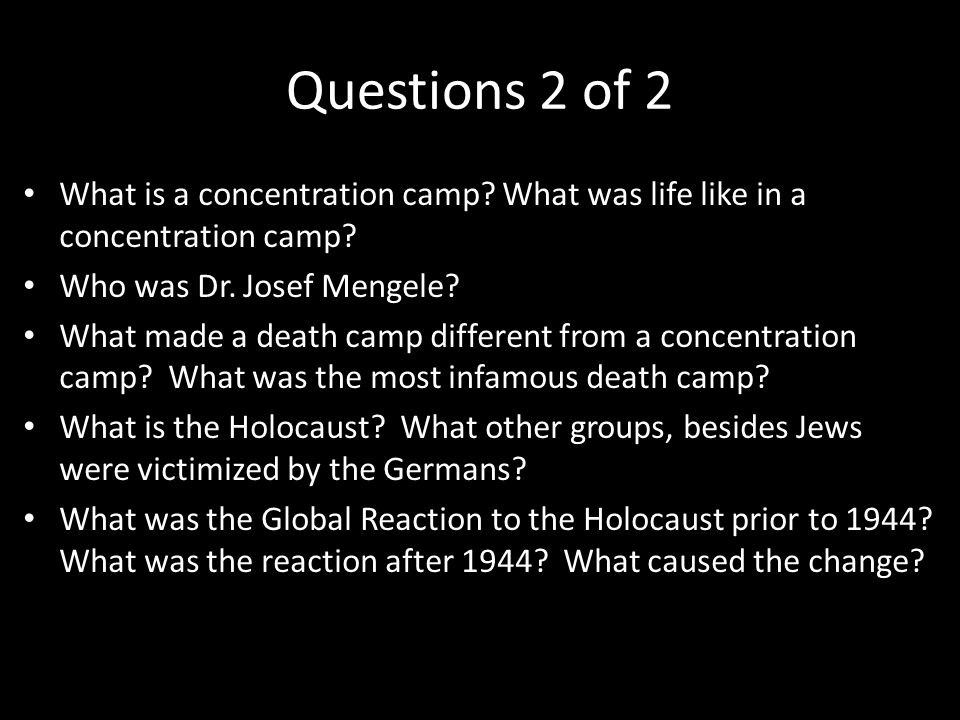 Concentration camps essay questions