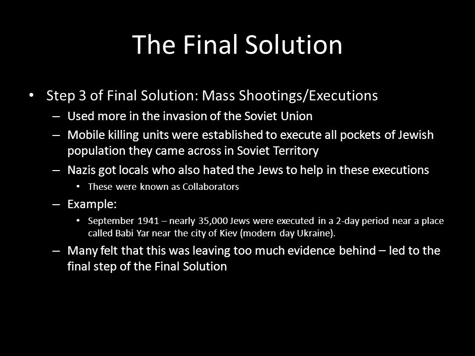 The Final Solution Step 3 of Final Solution: Mass Shootings/Executions