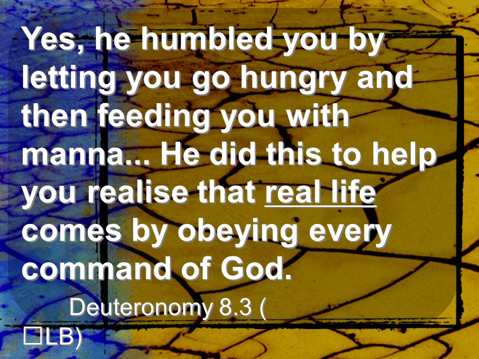 Yes, he humbled you by letting you go hungry and then feeding you with manna...