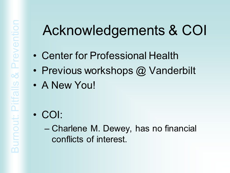 Acknowledgements & COI