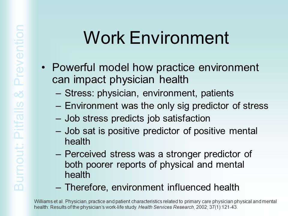 Work Environment Powerful model how practice environment can impact physician health. Stress: physician, environment, patients.