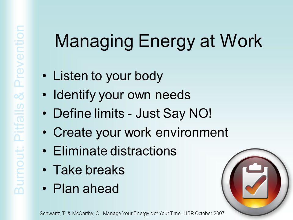 Managing Energy at Work