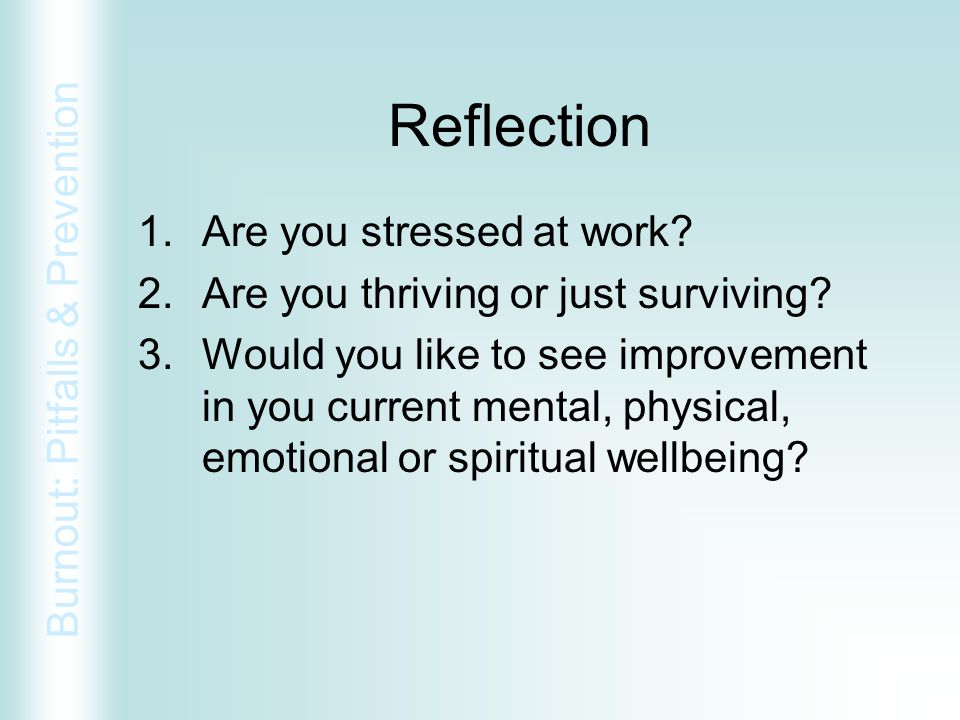 Reflection Are you stressed at work