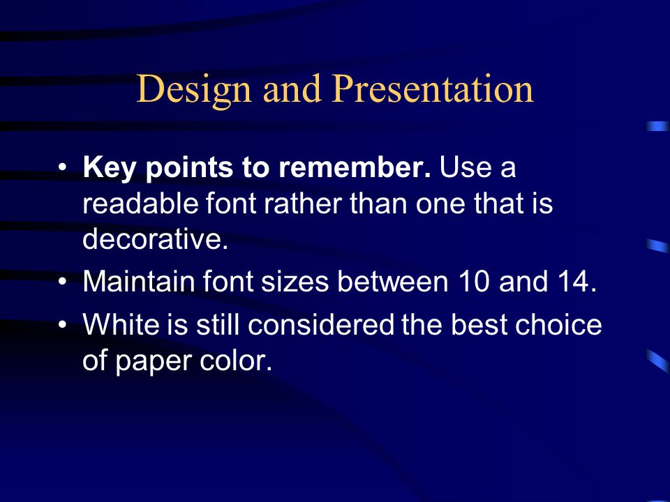 Design and Presentation