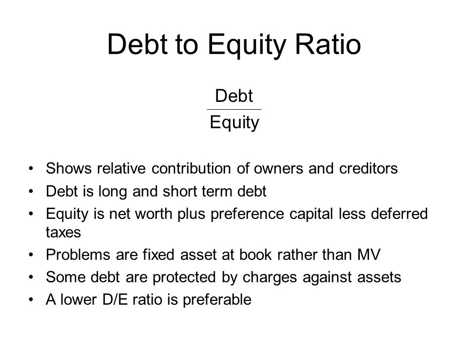 Debt to Equity Ratio Debt Equity
