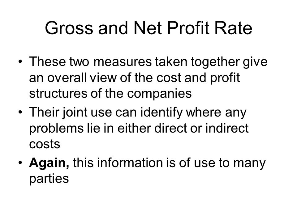 Gross and Net Profit Rate