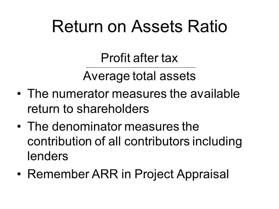 Return on Assets Ratio Profit after tax Average total assets