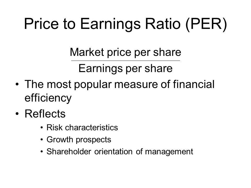 Price to Earnings Ratio (PER)