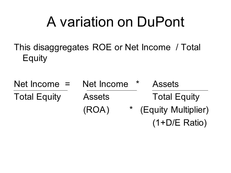 A variation on DuPont This disaggregates ROE or Net Income / Total Equity. Net Income = Net Income * Assets.