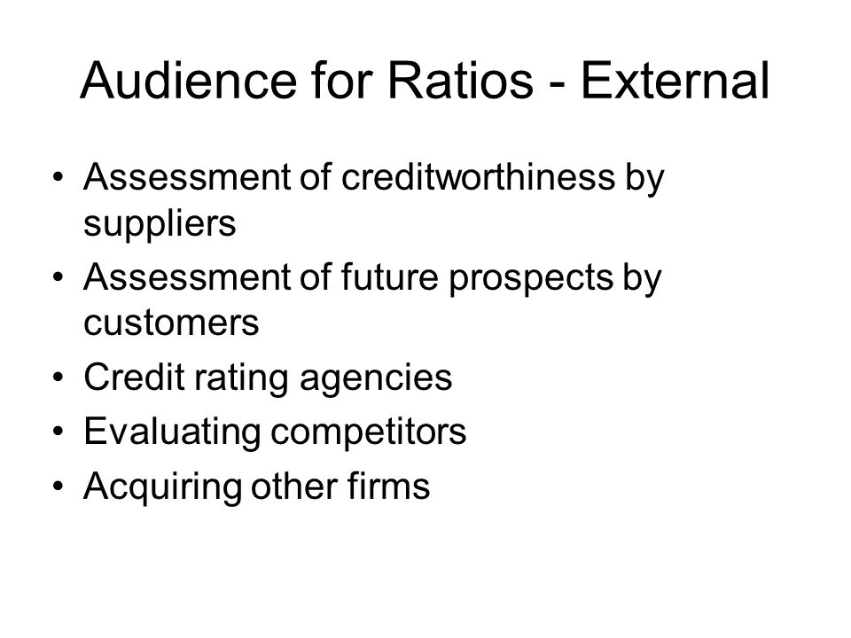 Audience for Ratios - External