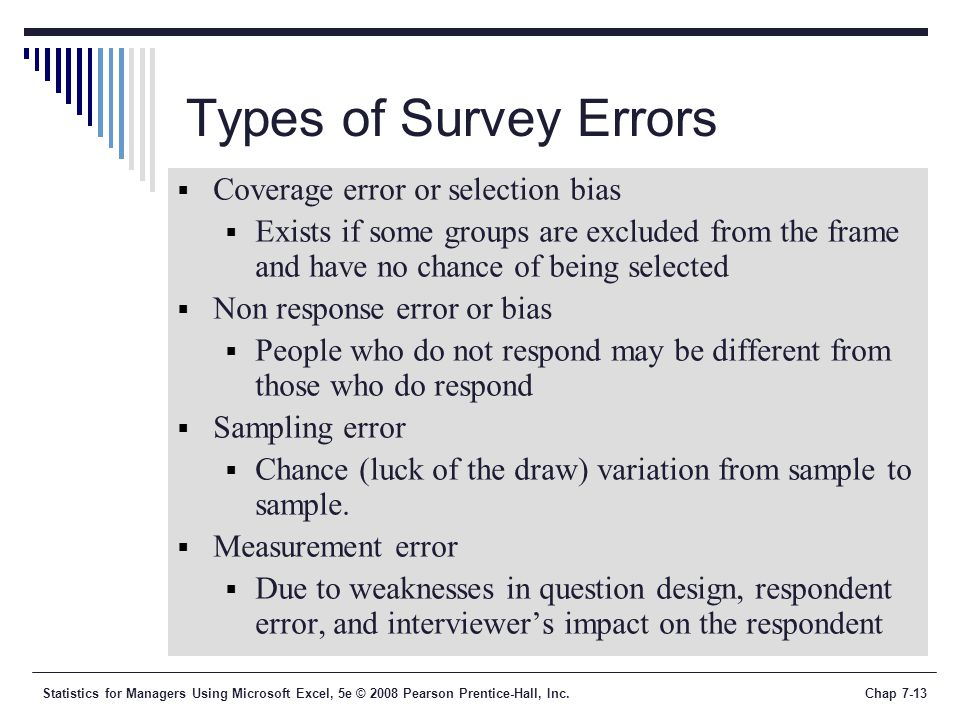 Types of Survey Errors Coverage error or selection bias