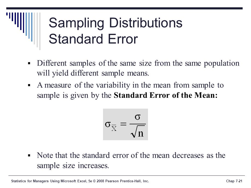 Sampling Distributions Standard Error