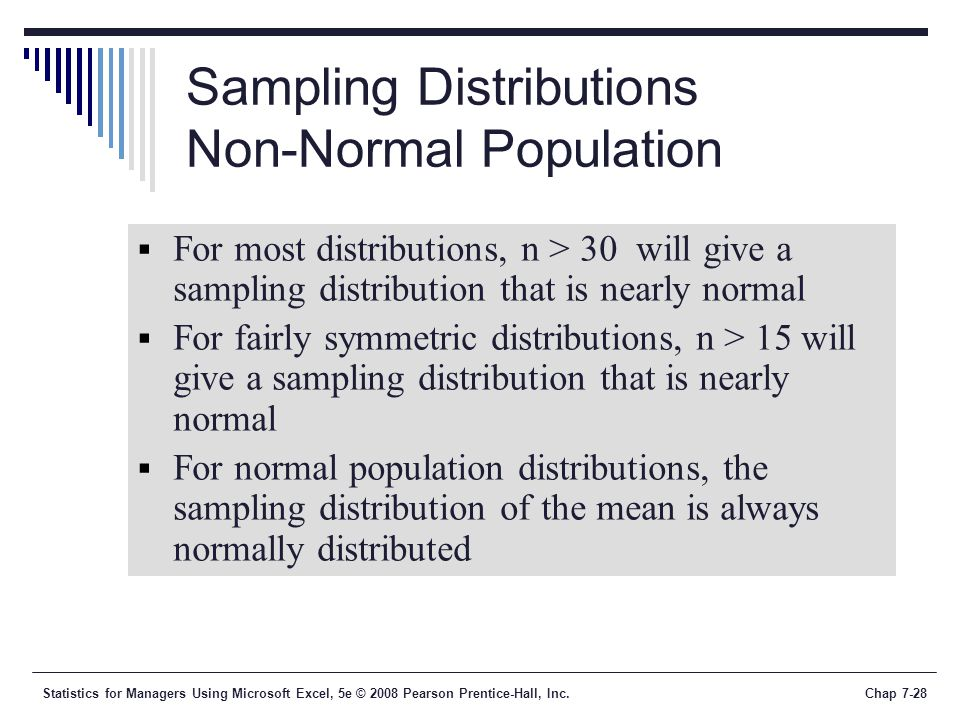 Sampling Distributions Non-Normal Population