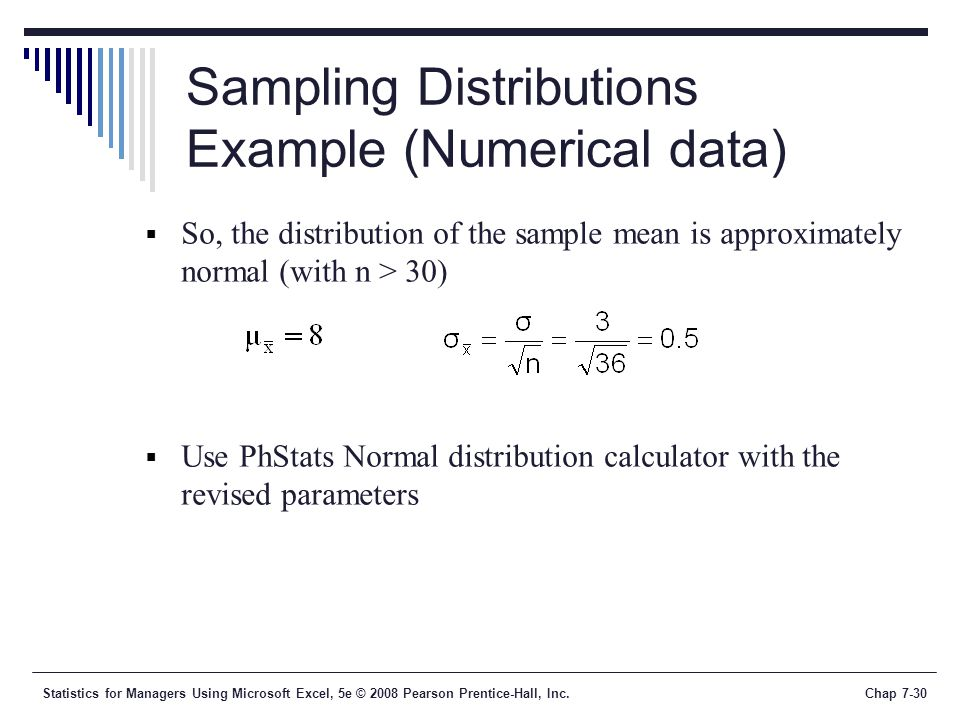 Sampling Distributions Example (Numerical data)