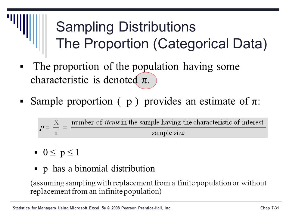 Sampling Distributions The Proportion (Categorical Data)