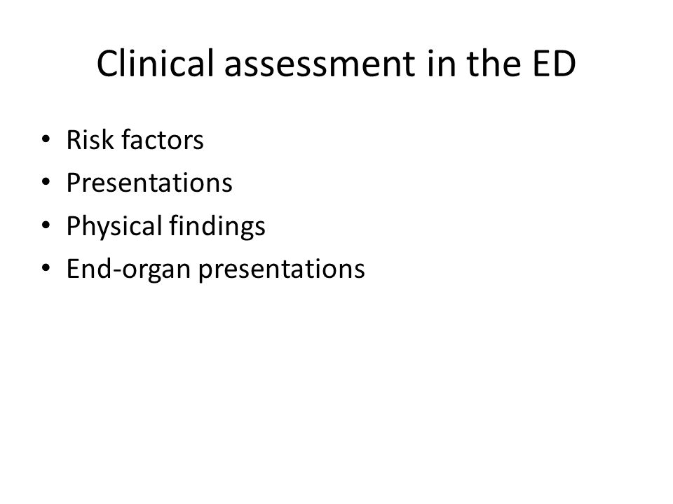 Clinical assessment in the ED