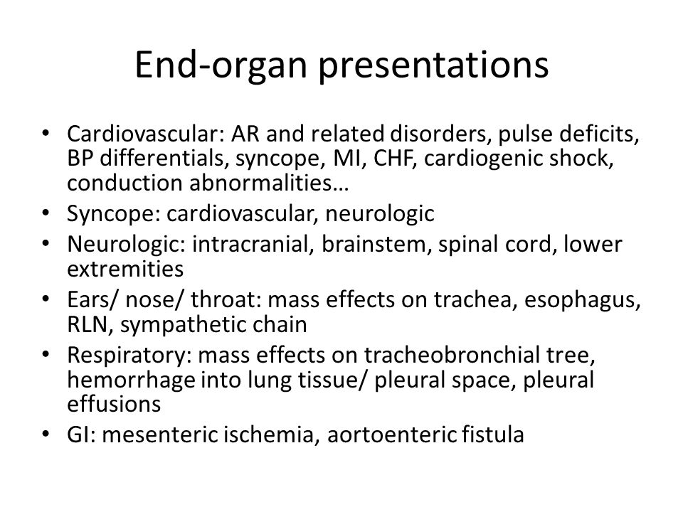 End-organ presentations