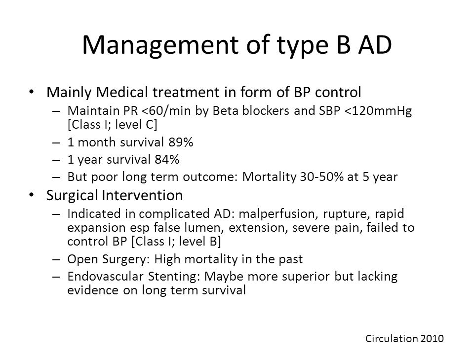 Management of type B AD Mainly Medical treatment in form of BP control