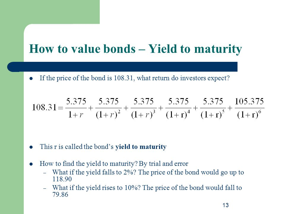 How to value bonds – Yield to maturity