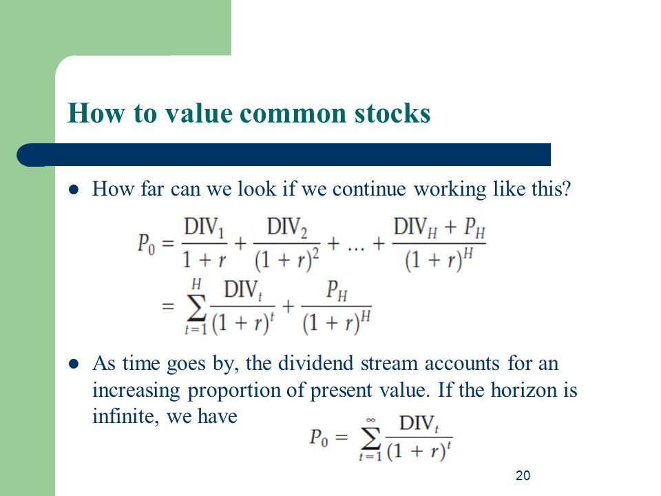 How to value common stocks