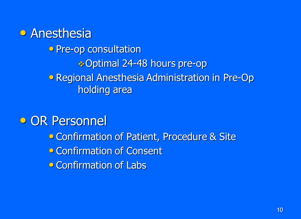 Anesthesia OR Personnel Pre-op consultation Optimal 24-48 hours pre-op