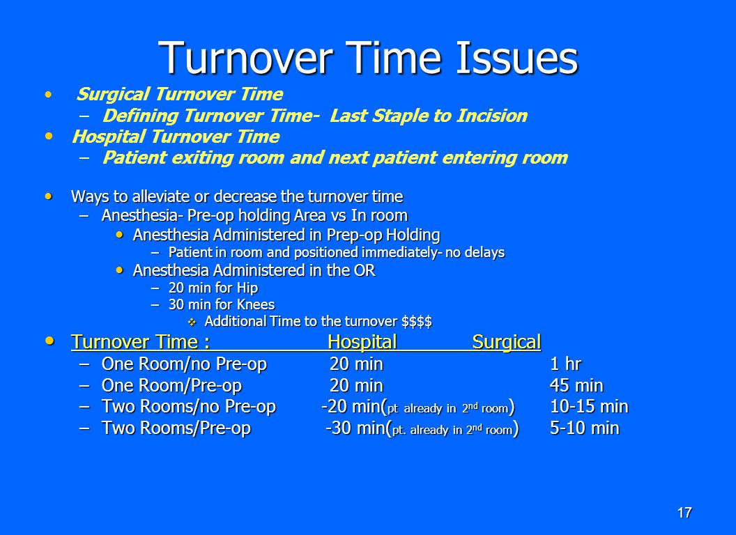 Turnover Time Issues Turnover Time : Hospital Surgical