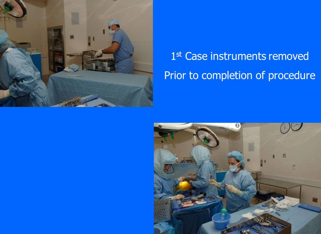 1st Case instruments removed Prior to completion of procedure
