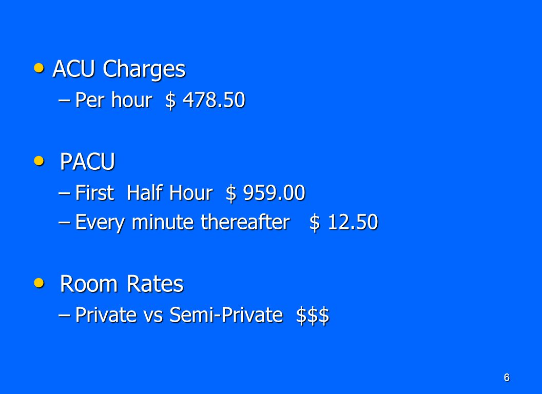 ACU Charges PACU Room Rates Per hour $ 478.50 First Half Hour $ 959.00