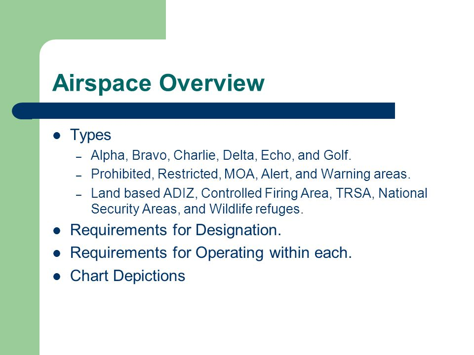 Airspace Overview Types Requirements for Designation.