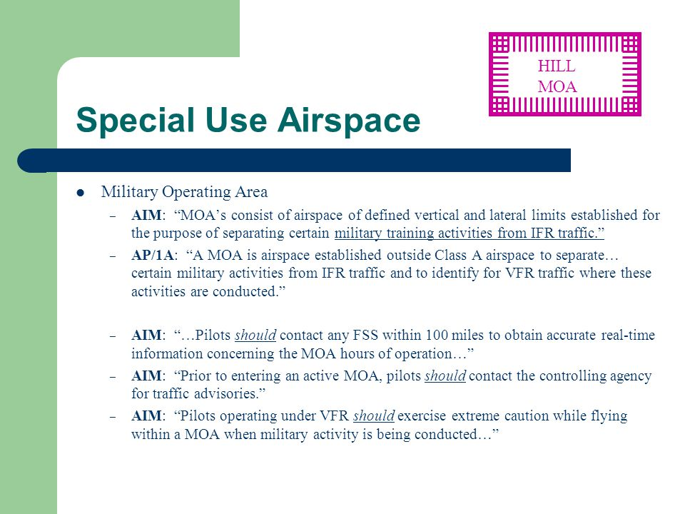 Special Use Airspace HILL MOA Military Operating Area