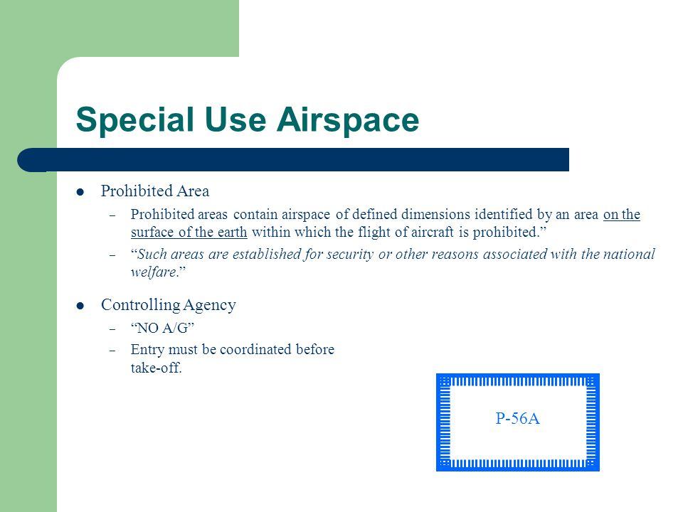 Special Use Airspace Prohibited Area Controlling Agency P-56A