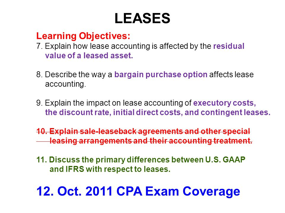LEASES 12. Oct. 2011 CPA Exam Coverage Learning Objectives: