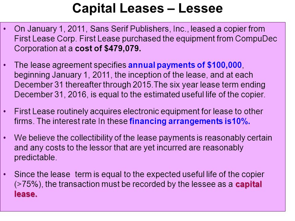 Capital Leases – Lessee