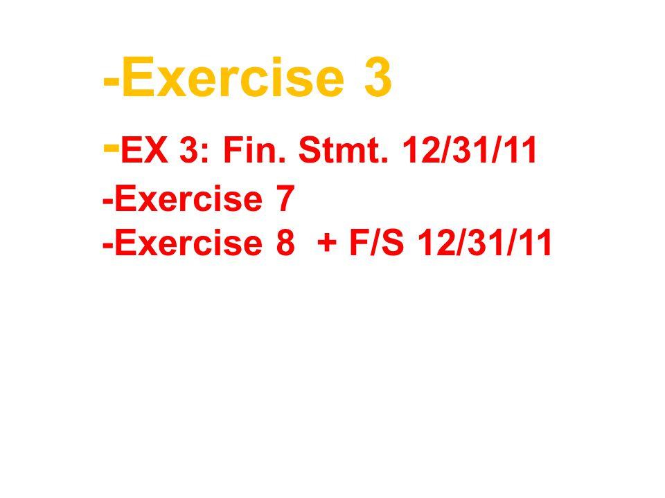 -Exercise 3 -EX 3: Fin. Stmt. 12/31/11