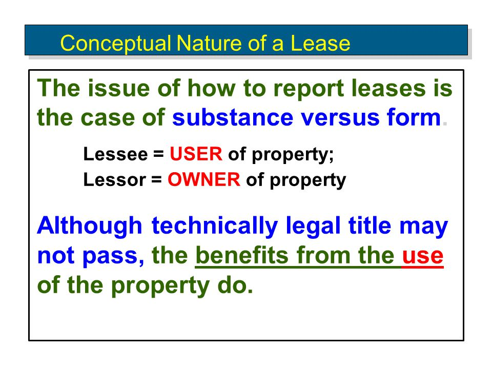 Conceptual Nature of a Lease