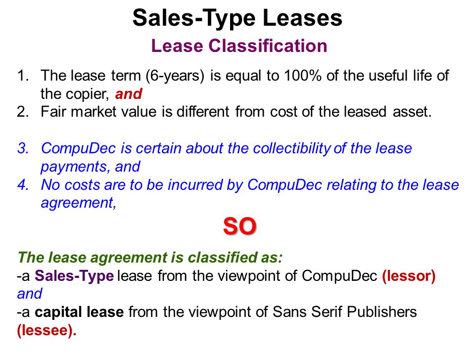Sales-Type Leases SO Lease Classification