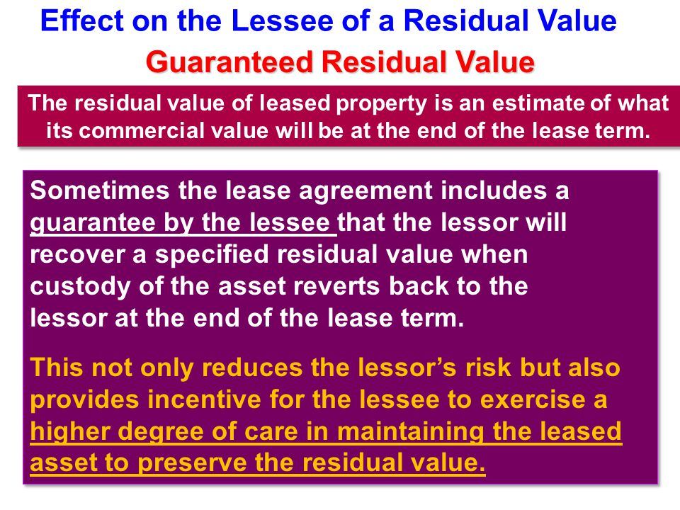 Effect on the Lessee of a Residual Value