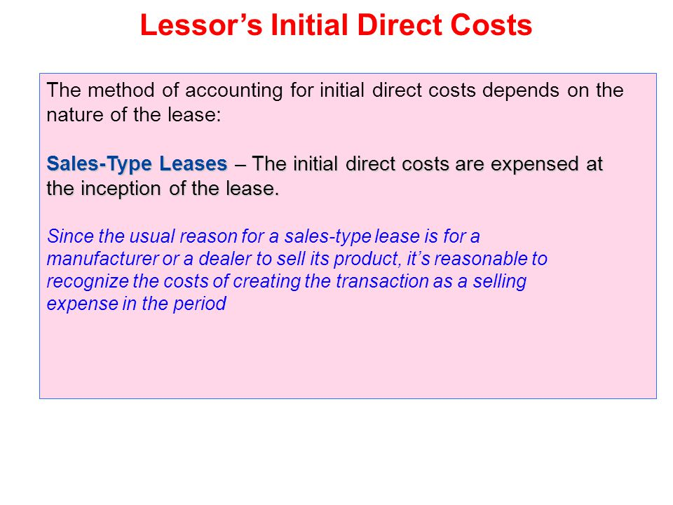 Lessor's Initial Direct Costs