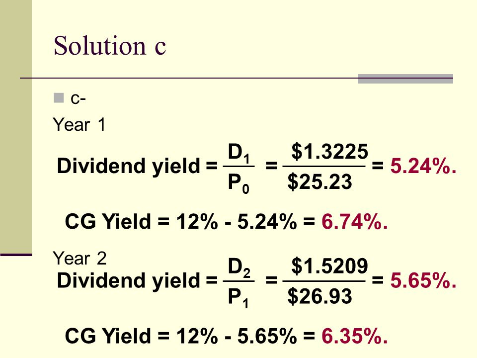 Solution c D1 $1.3225 Dividend yield = = = 5.24%. P0 $25.23