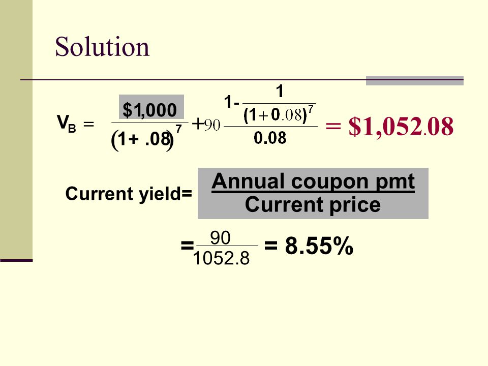 Solution = $1,052.08   = = 8.55% + Annual coupon pmt Current price
