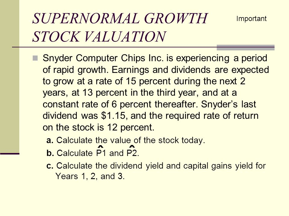 SUPERNORMAL GROWTH STOCK VALUATION