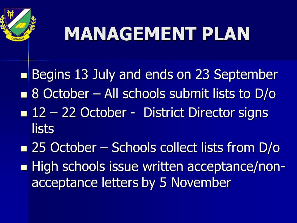 MANAGEMENT PLAN Begins 13 July and ends on 23 September