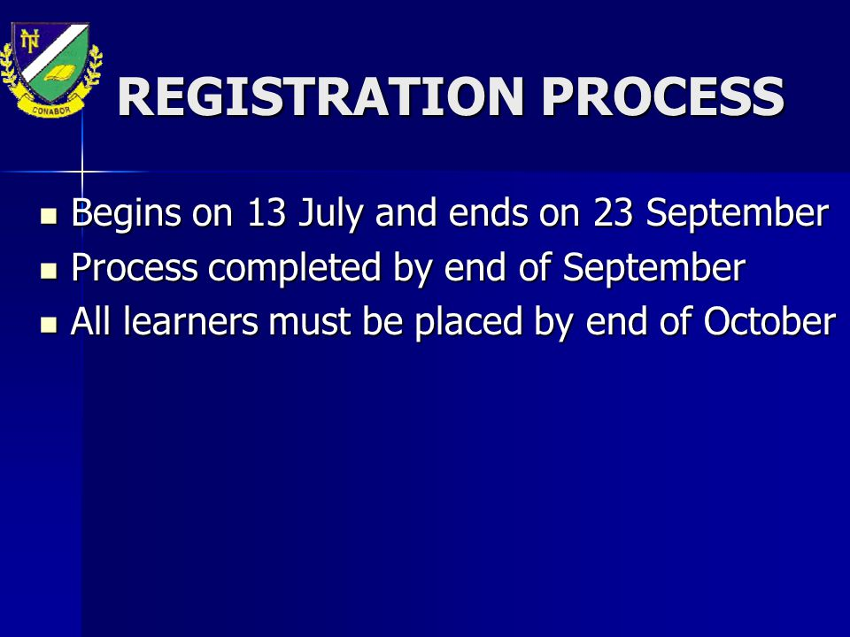 REGISTRATION PROCESS Begins on 13 July and ends on 23 September