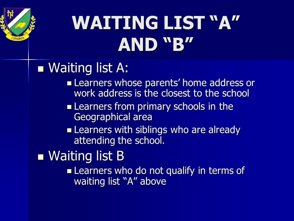 WAITING LIST A AND B